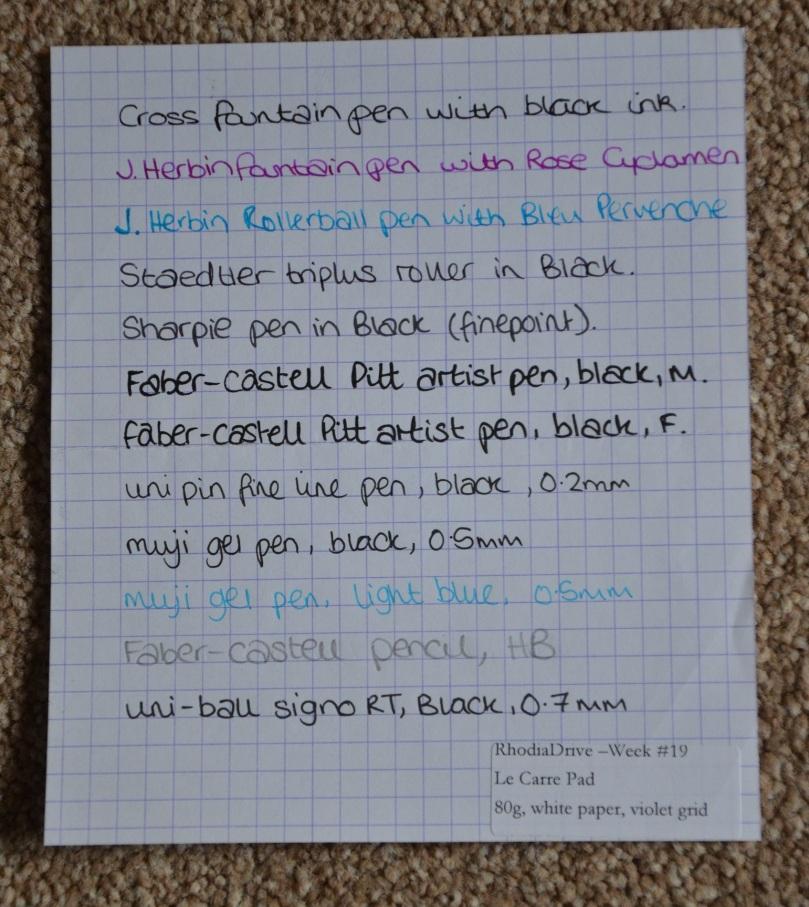Pen test using Rhodia Le Carre Pad Paper
