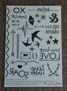 Sheet of Temporary Tattoos included in the Happy Paper Club July 2015 Box