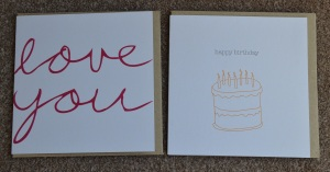 Two Greeting Cards (Love you & Happy Birthday cards) included in the Happy Paper Club July 2015 Box